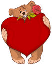Brown bear holding heart and rose flower. Greeting Card Valentines Day Royalty Free Stock Photo