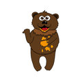 Brown bear and honey - cartoon vector isolated illustration.