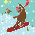 Brown bear jumps on snowboard humorous illustration one a against the blue sky and landscape winter sports Stock Photos