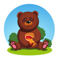 Brown bear sitting holding honey pot and eating