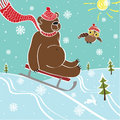 Brown bear sledding in nature humorous illustration one with mountain Royalty Free Stock Images