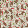 Brown bear in winter sport seamless pattern or background plays a forest motives christmas trees snowflakes use for packaging Royalty Free Stock Photos
