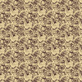 Brown beige rose floral damask seamless pattern Royalty Free Stock Photo
