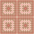 Brown and beige square pattern abstract seamless natural retro background with with pink green details Stock Images