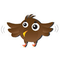 Brown bird cute cartoon animal Royalty Free Stock Image