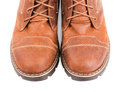 Brown boots isolated on white background Royalty Free Stock Photography