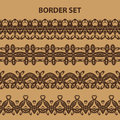Brown Border Pattern Set Royalty Free Stock Photo