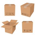 Brown boxes vector image of carton packing Stock Photo