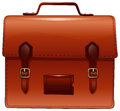 Brown briefcase with nametag case