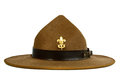 Brown brim hat hat of scout isolated on white ba a background Royalty Free Stock Photo