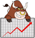 Brown bull with business graph Royalty Free Stock Photos