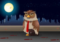 Brown business owl on night background illustration of a pose Royalty Free Stock Photography