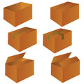 Brown cardboard shipping box vector illustration Royalty Free Stock Photo