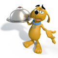 Brown cartoon dog waiter d rendering of a holding a serving tray Stock Photo