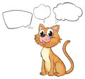 A brown cat with empty thoughts illustration of on white background Stock Photography
