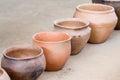 Brown ceramic pots standing diagonally the Stock Photos