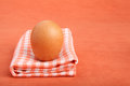 Brown chicken egg on vintage tablecloth Royalty Free Stock Photography