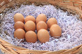 Brown chicken eggs lay on the wooden basket Stock Photos