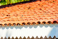 Brown clay tile roof closeup Stock Images