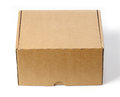 Brown closed cardboard box front side on white background Stock Photo