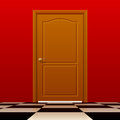 Brown closed door with red wall and glossy chess floor Royalty Free Stock Photo