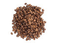 Brown coffee beans isolated on white background Royalty Free Stock Photography