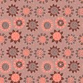 Brown doodle seamless flower pattern vector background Royalty Free Stock Image
