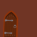 Brown door front to house and building flat design style background vector illustration modern new decoration open Royalty Free Stock Photo