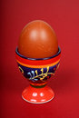 Brown egg in an eggcup a boiled a decorative ceramic against a red background Royalty Free Stock Photography