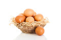 Brown eggs in the basket on white Royalty Free Stock Photo
