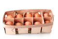 Brown eggs in box Stock Images
