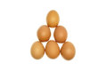 Brown eggs put as triangle isolated with a white background Stock Images