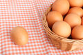 Brown eggs on vintage tablecloth and in the basket Stock Image