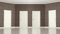 Brown Empty room with four doors Stock Images