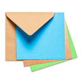 Brown envelope with card square blue on white background clipping path included Stock Images