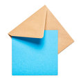 Brown envelope with card square blue on white background clipping path included Royalty Free Stock Photos