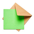 Brown envelope with card square green on white background clipping path included Stock Photos