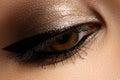 Brown eye makeup. Eyes make-up. Beautiful eyes vintage style make up detail. Eyeliner Royalty Free Stock Photo