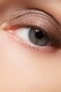 Brown eye makeup. Eyes Make-up. Vintage style make up Royalty Free Stock Photo
