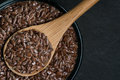 Brown Flax Seed in Bowl with Wooden Spoon and Small Copy Space Royalty Free Stock Photo