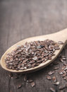 Brown flax seeds Stock Photos