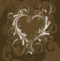 Brown floral with heart Royalty Free Stock Image