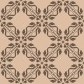 Brown floral seamless design on beige background Royalty Free Stock Photo