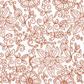 Brown floral seamless pattern Stock Images