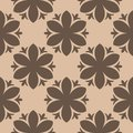 Brown floral seamless pattern on beige background Royalty Free Stock Photo