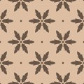 Brown floral seamless pattern on beige background