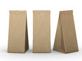 Brown folded paper bag with clipping path Royalty Free Stock Photo