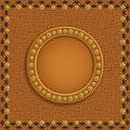 Brown frame on background circle textured with rivets and stitches Stock Image