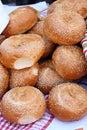 Brown freshly baked loaves bread sprinkled sesame seeds Stock Photo