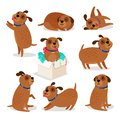 Brown funny cartoon puppies